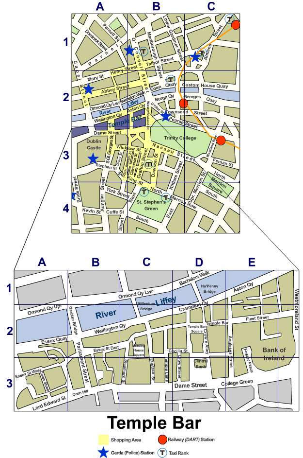 Dublin City Centre Street Map